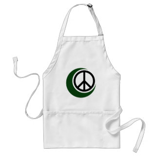 Islamic Muslim Symbol with Peace Sign Adult Apron