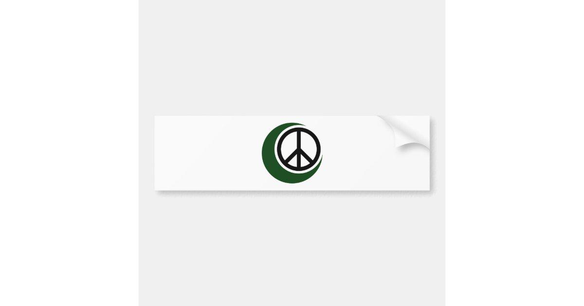 Islamic Muslim Symbol With Peace Sign Bumper Sticker Zazzle