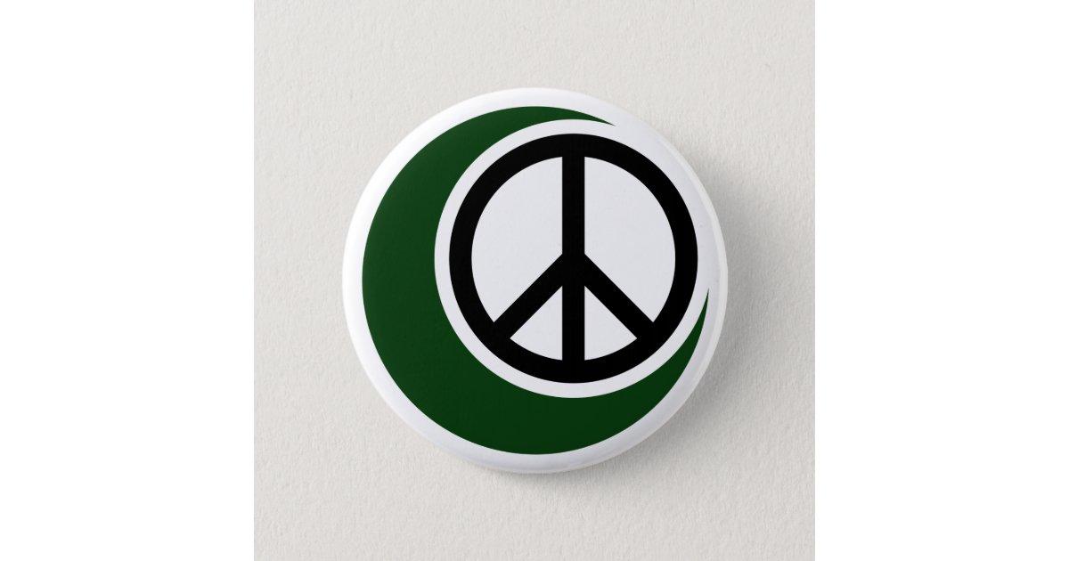 Islamic Muslim Symbol With Peace Sign Button Zazzle