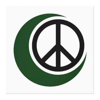 Islamic Muslim Symbol with Peace Sign Canvas Prints