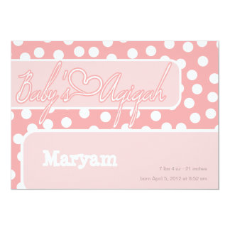 "Islamic polka dot  pink baby aqiqah bismillah 5"" x 7"" invitation card"