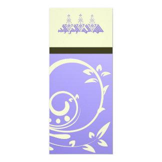 Islamic purple ornate flower wedding / engagement card