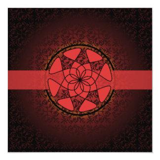 """Islamic red  damask  bismillah wedding engagement 5.25"""" square invitation card"""