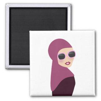 Islamic scarf muslima hijab lady style 2 inch square magnet