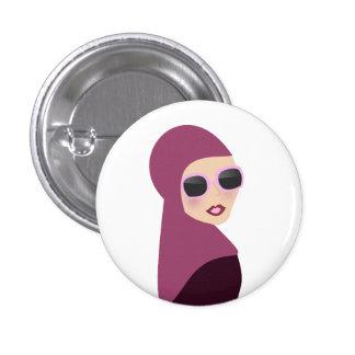 Islamic scarf muslima hijab lady style pinback button
