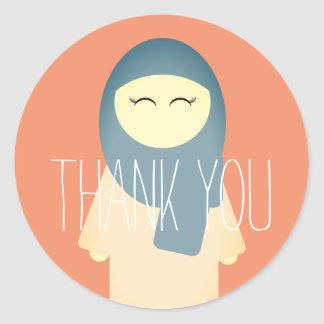 Islamic thank you sticker Muslim girl with Hijab