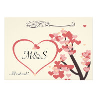 Islamic wedding congratulation love tree heart custom invite