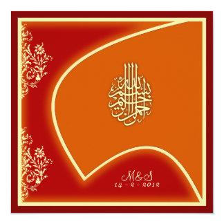 "Islamic wedding engagement falcon damask invite 5.25"" square invitation card"