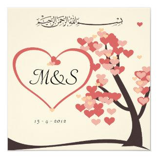 "Islamic wedding engagement love tree heart invite 5.25"" square invitation card"