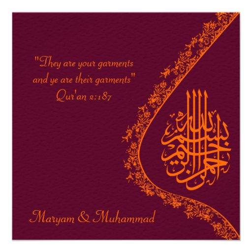 "Islamic wedding marriage red invitation card 5.25"" square invitation ..."