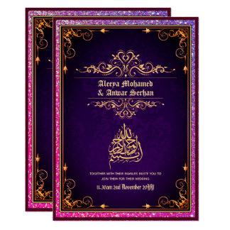 Islamic Wedding Purple Gold Wedding Engagement Invitation