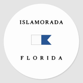 Islamorada Florida Alpha Dive Flag Round Sticker