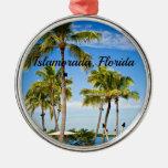 Islamorada, Florida Palm Trees Round Metal Christmas Ornament
