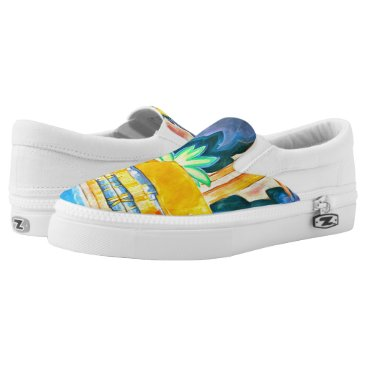 Hawaiian Themed Island Abstract Vintage Painting in Tropical Color Slip-On Sneakers