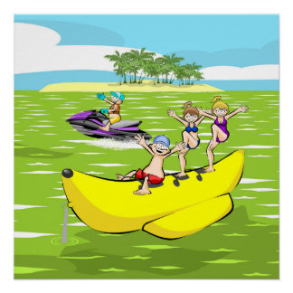 Island and summer Banana boat group of friends Poster