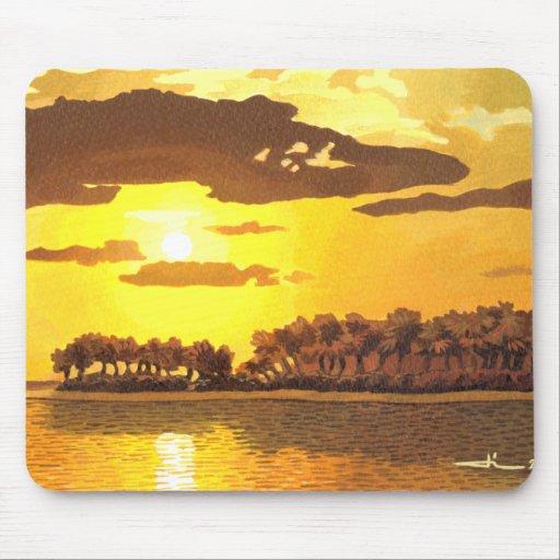 Island and sunset mousepads