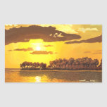 Island and sunset rectangular stickers