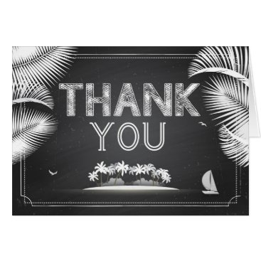 Beach Themed Island Beach Destination Chalkboard Thank You Card