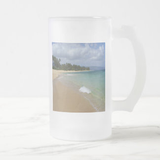 Island Beach Frosted Glass Beer Mug
