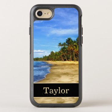 Beach Themed Island Beach Monogram With Name OtterBox Symmetry iPhone 7 Case