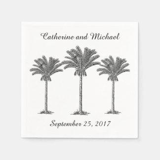 Island Beach Palm Trees Black White Custom Wedding Paper Napkin