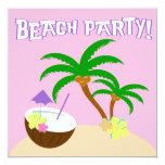 """ISLAND BEACH PARTY 3 5.25"""" SQUARE INVITATION CARD"""