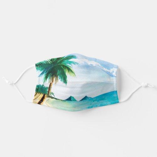 Island Beach Scene Watercolor Cloth Face Mask