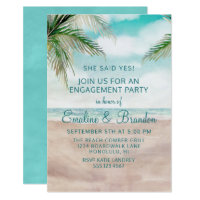 Island Breeze Painted Beach Scene Engagement Party Invitation