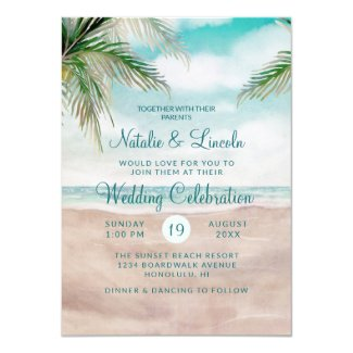 Island Breeze Painted Beach Scene Seashore Wedding Invitation