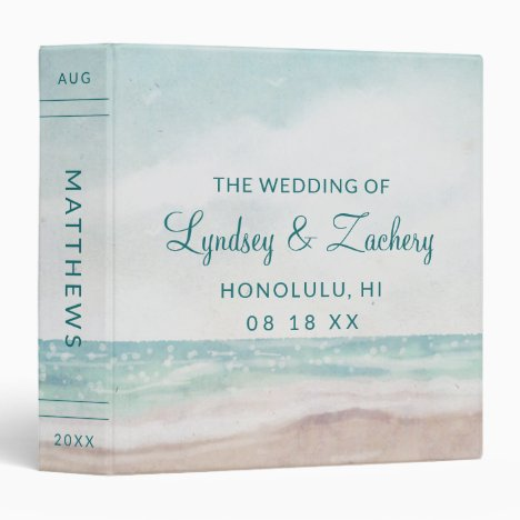 Island Breeze Painted Beach Wedding Photo Album 3 Ring Binder