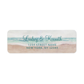 Island Breeze Painted Beach Wedding Return Address Label