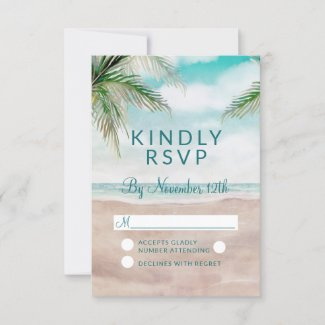 Island Breeze Painted Beach Wedding RSVP Reply