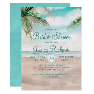 Island Breeze Tropical Beach Wedding Bridal Shower Invitation