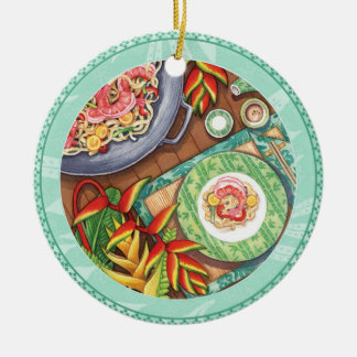 Island Cafe - Heliconia Wok Ceramic Ornament