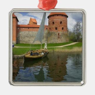 Island Castle by Lake Galve, Trakai, Lithuania Square Metal Christmas Ornament