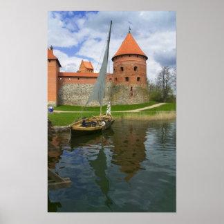 Island Castle by Lake Galve, Trakai, Lithuania Poster