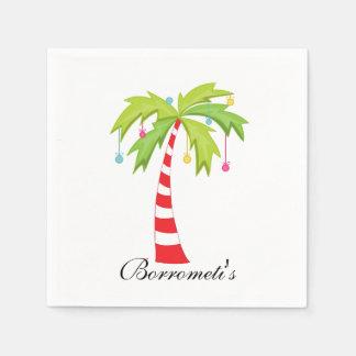 Island Christmas Palm Tree Cocktail Napkin