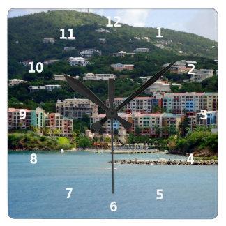 Island Color Square Wall Clock