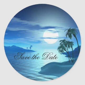 island cove Save the Date Classic Round Sticker