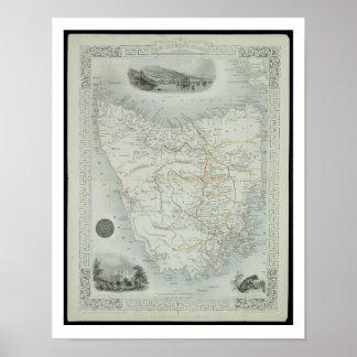 Island de Van Diemen o Tasmania, de una serie de Póster
