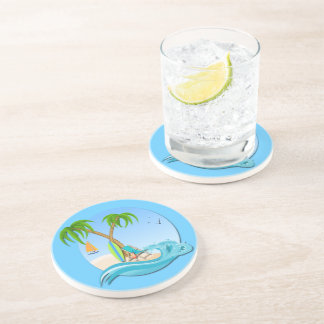 Beach chair drink beverage coasters zazzle - Sandstone drink coasters ...
