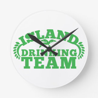 Island Drinking Team with a palm tree Round Clock