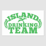 Island Drinking Team with a palm tree Rectangle Sticker