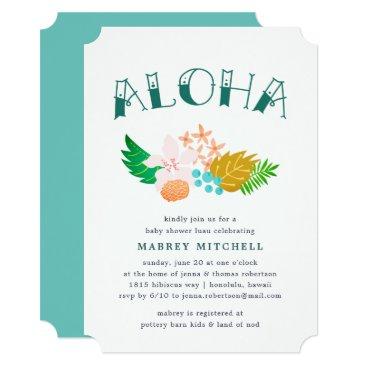 Beach Themed Island Flowers | Luau Baby Shower Invitation