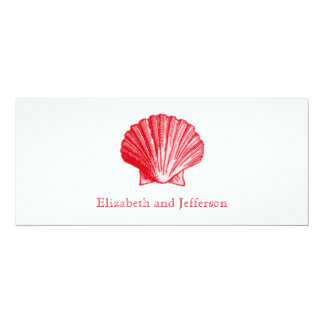 Island Ginger Red Sea Shell Wedding Invitation