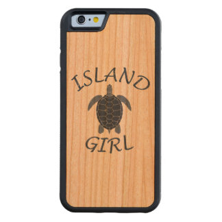 island girl blue turtle summer vacation tropical carved cherry iPhone 6 bumper case