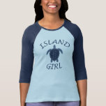 island girl blue turtle summer vacation tropical T-Shirt