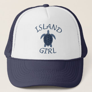 island girl blue turtle summer vacation tropical trucker hat