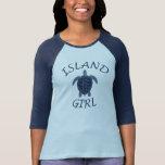 island girl blue turtle summer vacation tropical tshirts