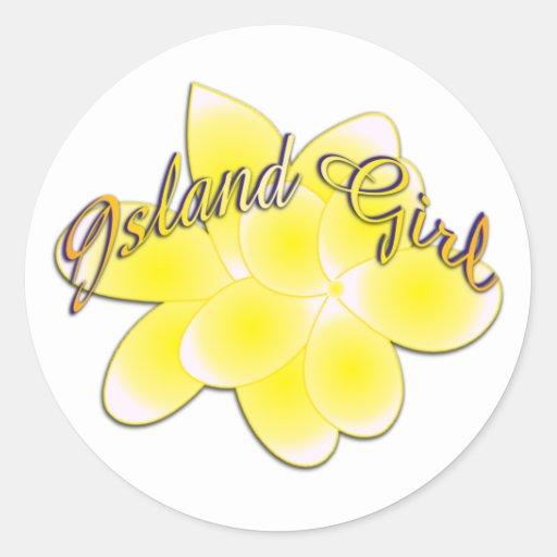 Island girl classic round sticker